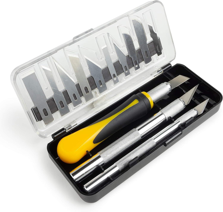 OfficeTree - Cutter Manualidades Set 16 Piezas - Escalpelo Cutter Precision por 3 Cuter diferentes y 13 Cuchilla de Repuesto - Bisturi Manualidades Herramienta