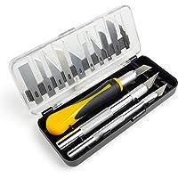 OfficeTree Knutselmessen, scalpelset, 16-delig, knutselaccessoires met 3 verschillende messen en 13 reservemesjes…