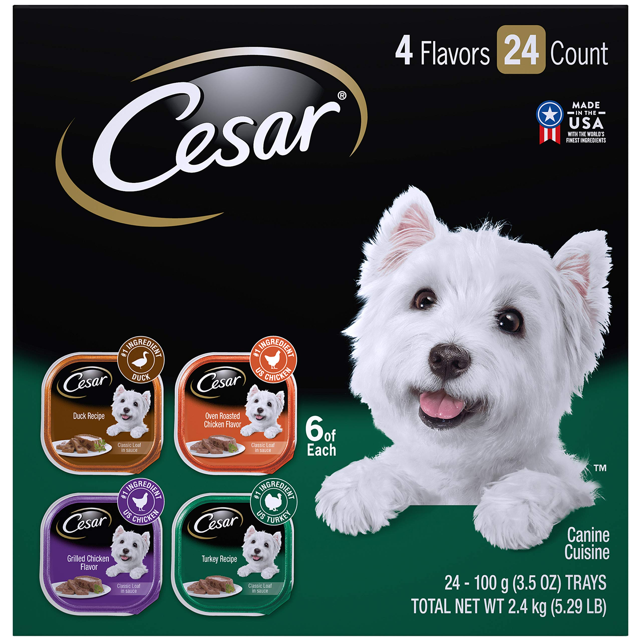 CESAR Soft Wet Dog Food Classic Loaf in Sauce Poultry Variety Pack, (24) 3.5 oz. Easy Peel Trays with Real Chicken, Turkey or Duck by Cesar