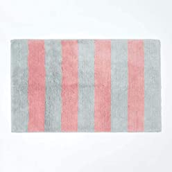 Cotton Chevron Pattern Bath Mat with Non Slip Latex Backing 50 x 80 cm
