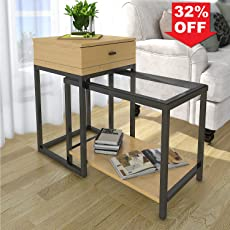 Lifewit 2 Piece Side Table Nesting Table Accent Table Set With Drawer,  Combination Extension