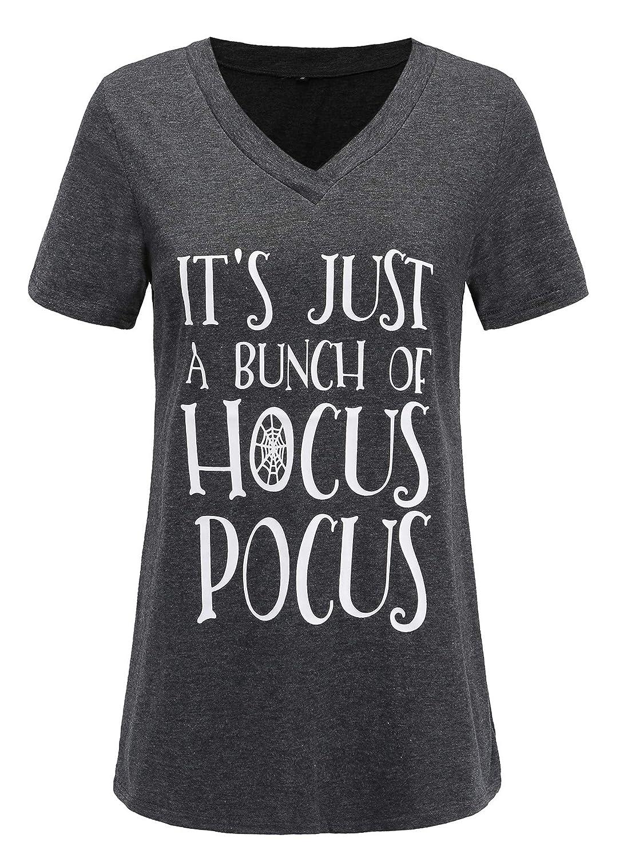 Women Plus Size Letter Print It's Just a Bunch of Hocus Pocus Funny T Shirt Tops ZST0205