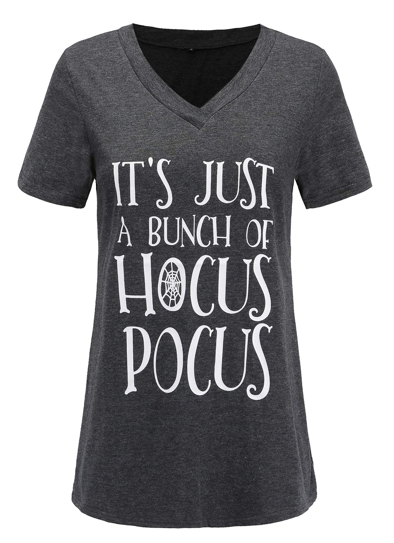 Women's Plus Size Letter Print It's Just a Bunch of Hocus Pocus Tee Funny Halloween Trendy T Shirt Tops Tee Blouse 2X Gray 18 20 Plus