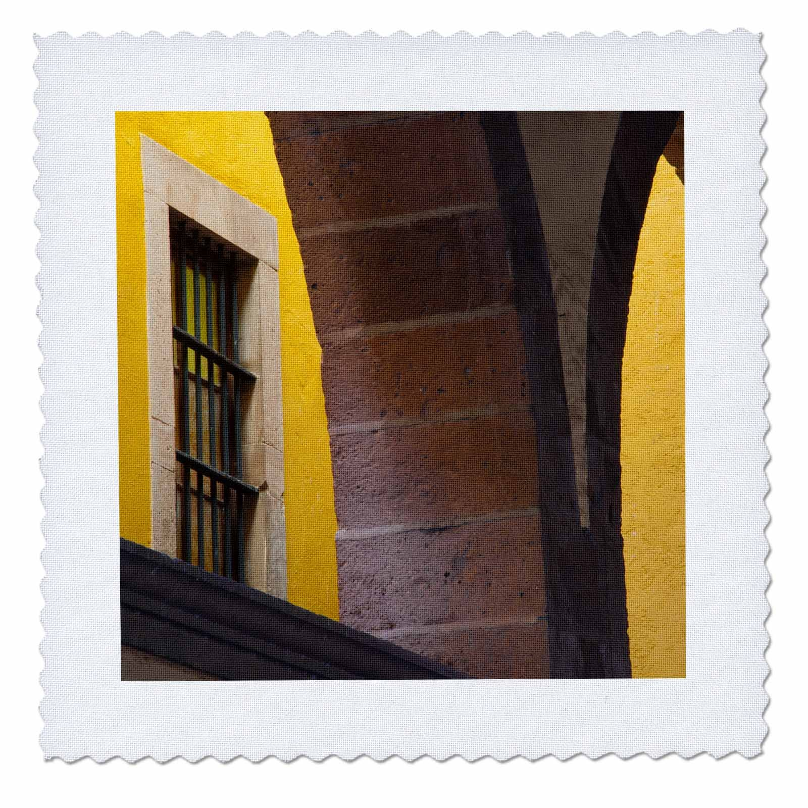 3dRose Danita Delimont - Architecture - Mexico, Guanajuato, Arched columns against a yellow wall with window. - 22x22 inch quilt square (qs_258503_9)