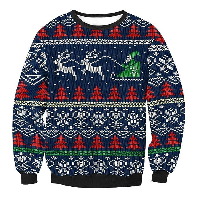 Sudaderas Navideñas Unisex Sudadera Navidad Estampadas Jersey Hombre Mujer  Sueter Navideño Reno Sweaters Pullover Cuello Redondo Largas Chica Oversize  ... 2e9e656e1fa1