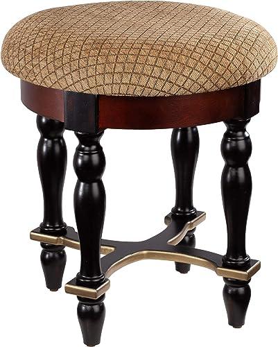 Design Toscano Grand Duchess Vanity Stool, 17 Inch, Walnut