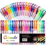 Glitter Gel Pens Set 48 Pack with 24 Colored Gel Pen and 24 Refills, Fine Tip Glitter Pens with 40% More Ink for Kids…