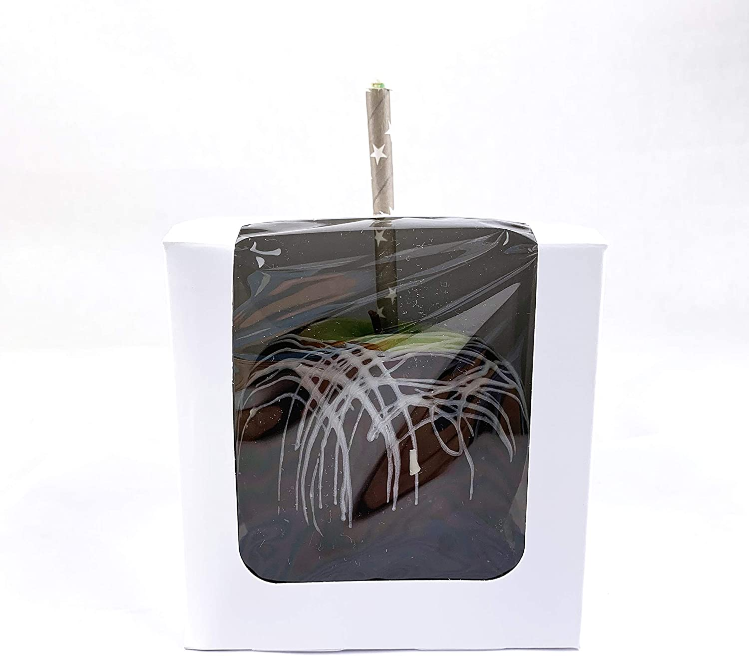 """Worlds 4""""x4""""x4"""" Clear Window White Candy Apple Box With Hole Top 15 Pack"""