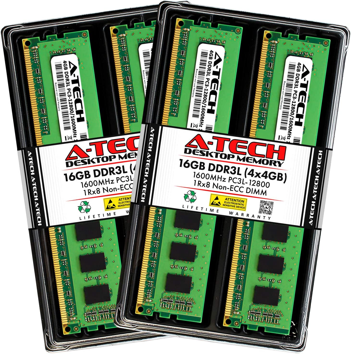 A-Tech 16GB DDR3 / DDR3L 1600MHz Desktop Memory Kit (4 x 4GB) PC3-12800 Non-ECC Unbuffered DIMM 240-Pin 1Rx8 1.35V Low Voltage Single Rank Computer RAM Upgrade Sticks