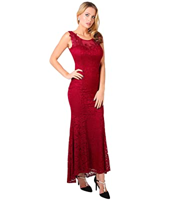 Embroidered Lace Fishtail Maxi Dress (Wine, Small),[5030-WIN-