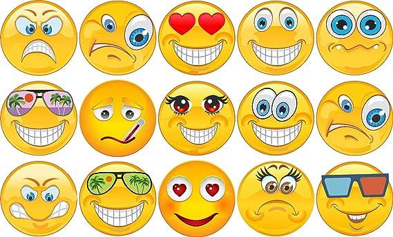 Kleberio Aufkleber Wetterfest 15 Smileys Je 6 X 6 Cm 1 Sticker Je Motiv Auto Motorrad Carravan Baumarkt