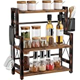 Rolanstar Spice Rack Organizer, 3 Tier Kitchen Bathroom Countertop Storage Shelf with a Wire Basket and 2 S-Hooks, Standing W