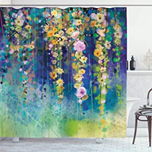 Lunarable Watercolor Flower Shower Curtain, Vines Flowers in Soft Colors Summer Garden Watercolor Artwork, Cloth Fabric Bathroom Decor Set with Hooks, 84