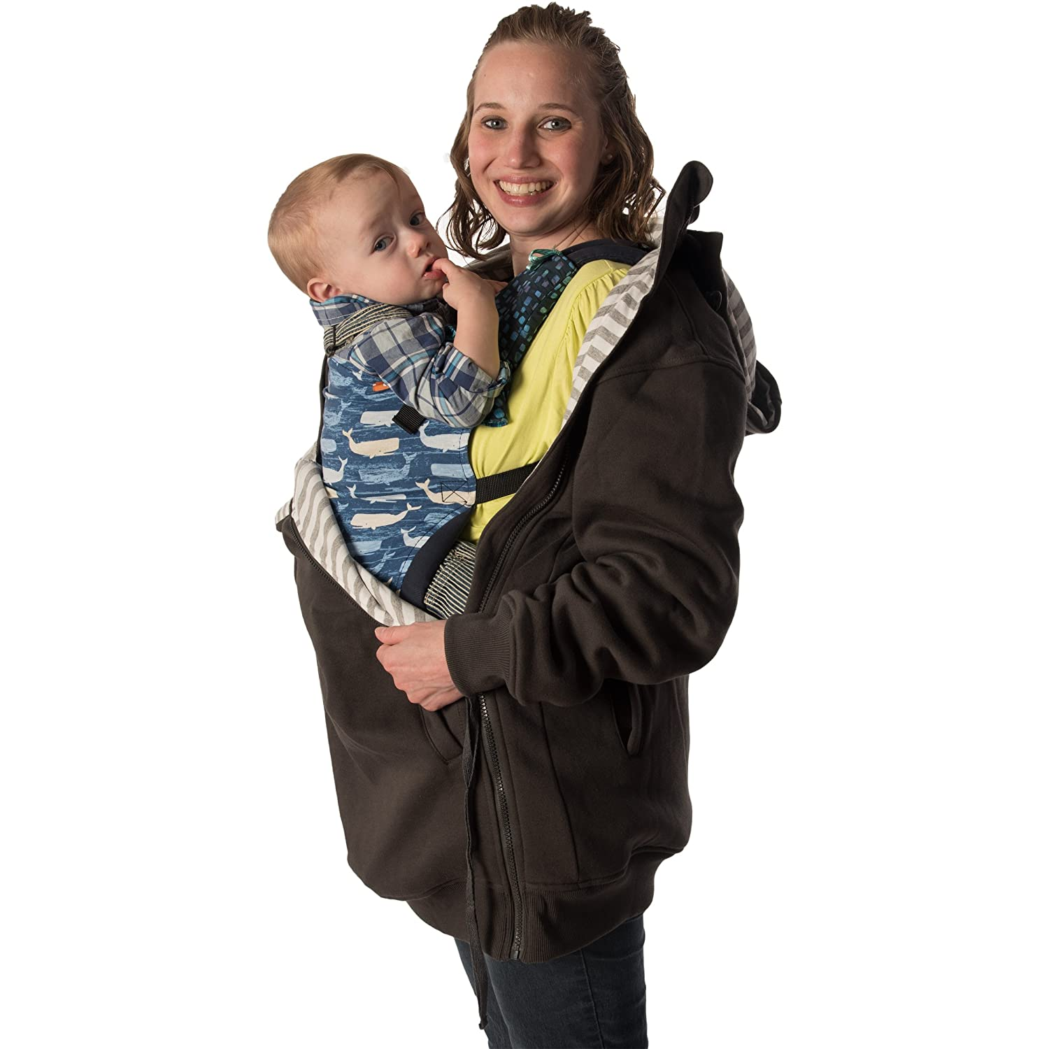 RooCoat Babywearing /& Maternity Coat 2.0 Black with Black Stripes Small
