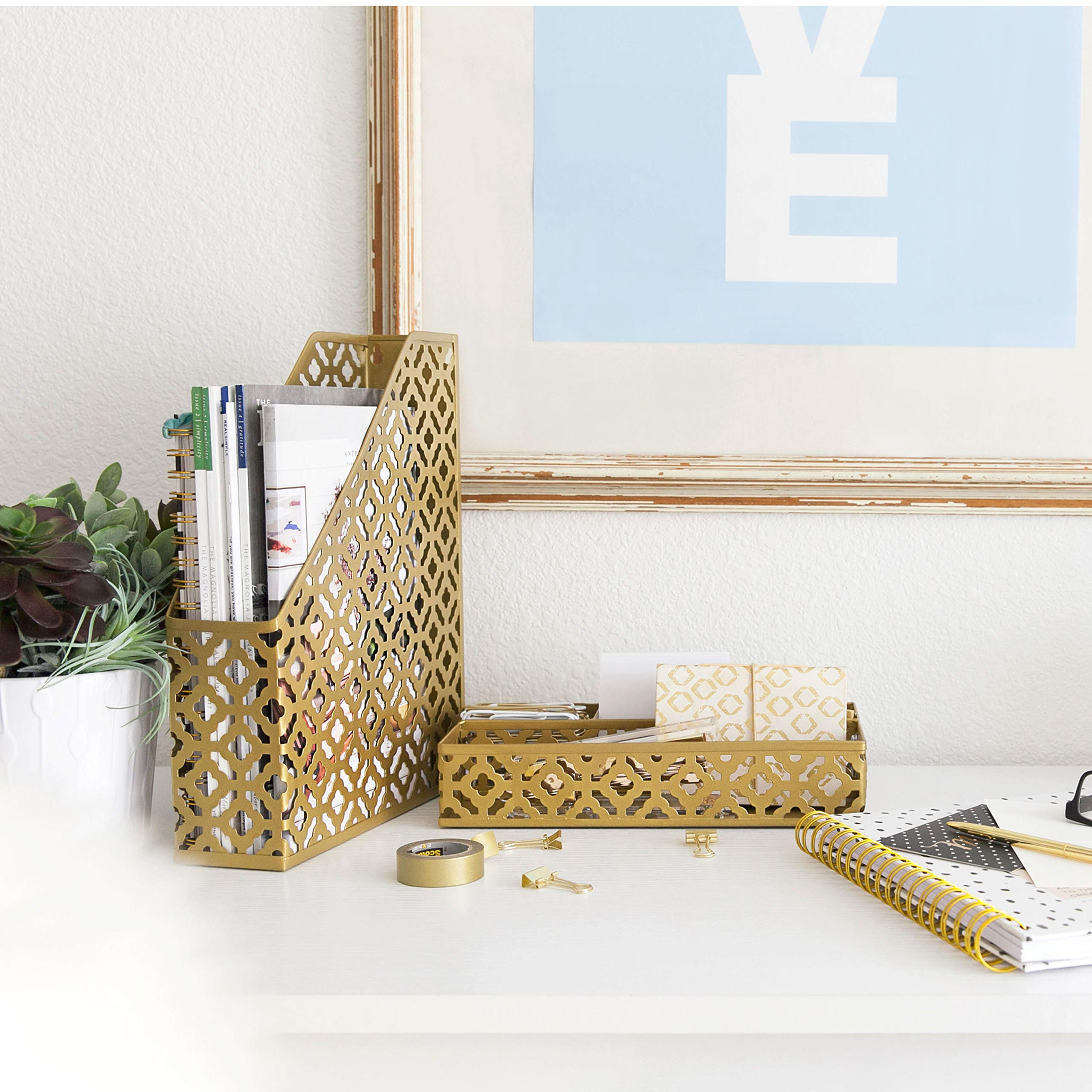 Blu Monaco Gold Desk Organizer for Women - 3 Piece Desk Accessories Set - Pen Cup, Magazine-File-Mail Holder, and Accessories Tray - Antique Gold Brass Finish Office Supplies Stationery Decor by Blu Monaco (Image #1)