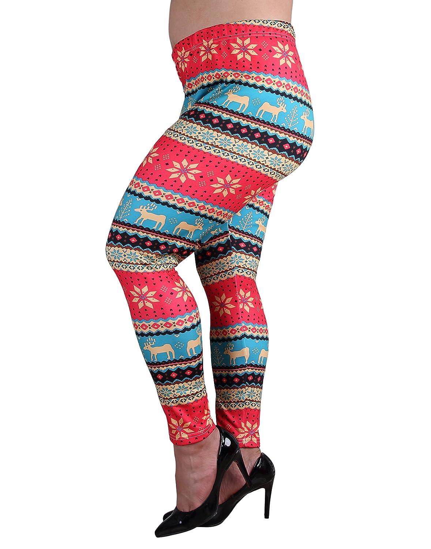 ZERDOCEAN Women's Plus Size Fleece Lined Thermal Printed Leggings