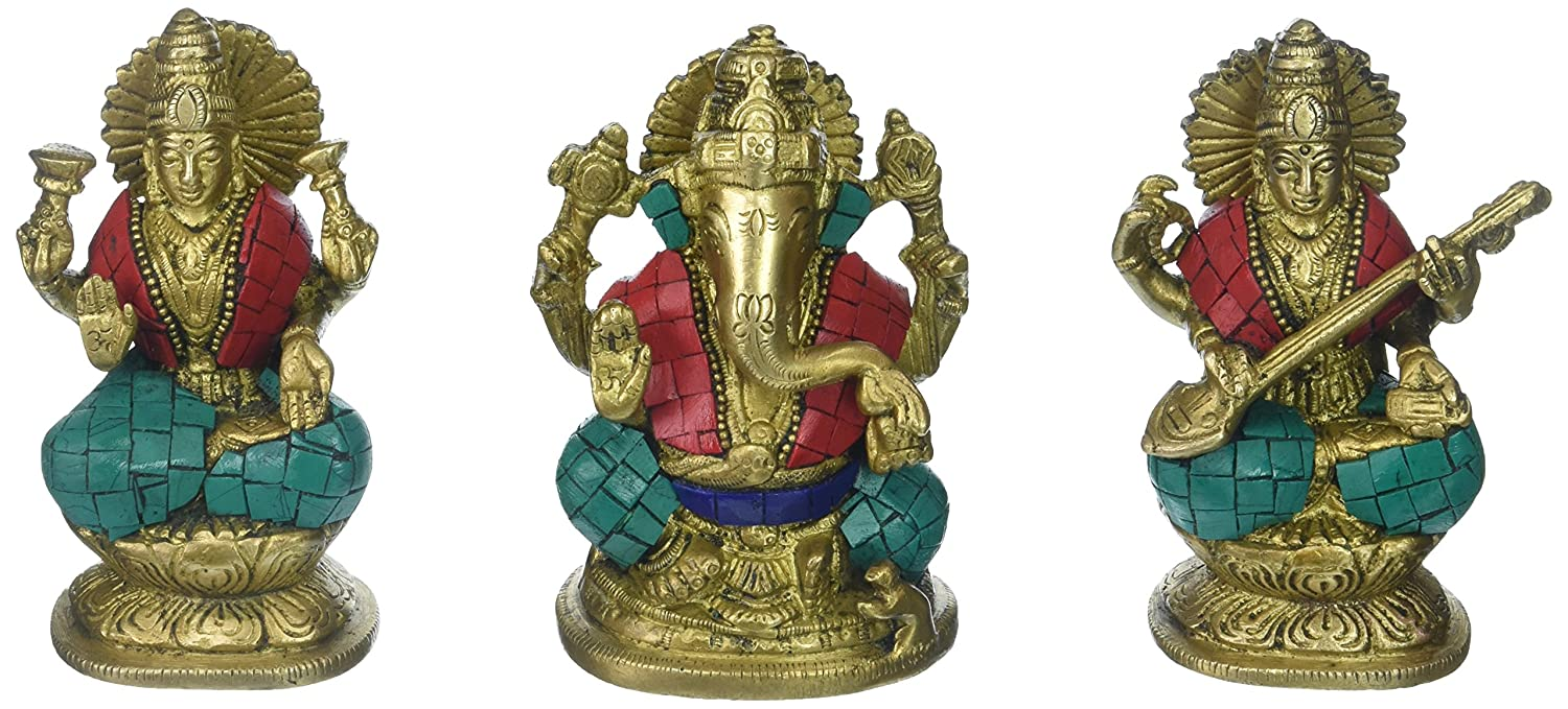 Aone India Gift Set of Lakshmi (Laxmi), Ganesh, Saraswati- Brass Ganesha Lakshmi Sarasvati Ganesha Idol Diwali Decor Gift + Cash Envelope (Pack of 10)
