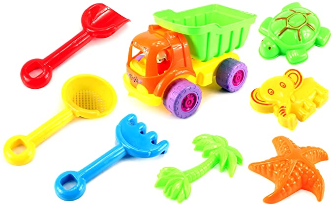 Colors May Vary Hand Tools by YMCtoys Comes with Watering Bucket Summer Fun 6 Piece Childrens Kids Mini Toy Beach//Sandbox Tool Play set Sand Molds