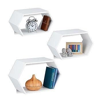 Relaxdays Wandregale Sechseckig 3er Set Hängend Ausgefallen Dekorativ Montagematerial Kinderzimmer Mdf Weiß