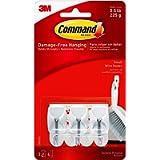 Command Small Wire Hooks, White, 3-Hooks, 4-Strips, Organize Damage-Free