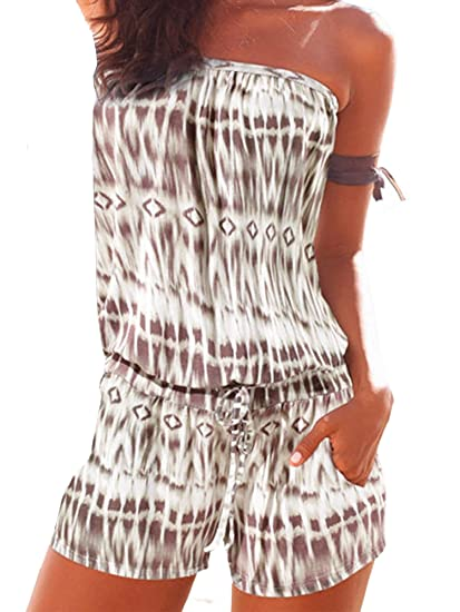 bf897fd618af Elevesee Women s Off Shoulder Romper Strapless Floral Print Striped Beach  Shorts Jumpsuit (Small
