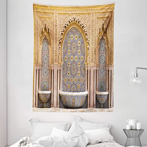 Ambesonne Moroccan Tapestry, Typical Moroccan Tiled Fountain in The City of Rabat Near Hassan Tower, Wall Hanging for Bedroom Living Room Dorm, 60 X 80 , Brown Apricot