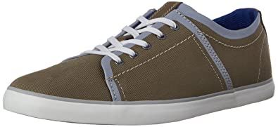 Mens Clarks Rorric Plain Sneakers Olive Canvas ZNO25798