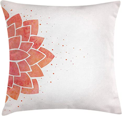 Ambesonne Lotus Flower Throw Pillow Cushion Cover Aquarelle Style Half Lily Ayurveda Meditation Theme With Look Decorative Square Accent Pillow Case 40 X 40 Coral Pale Peach Home Kitchen