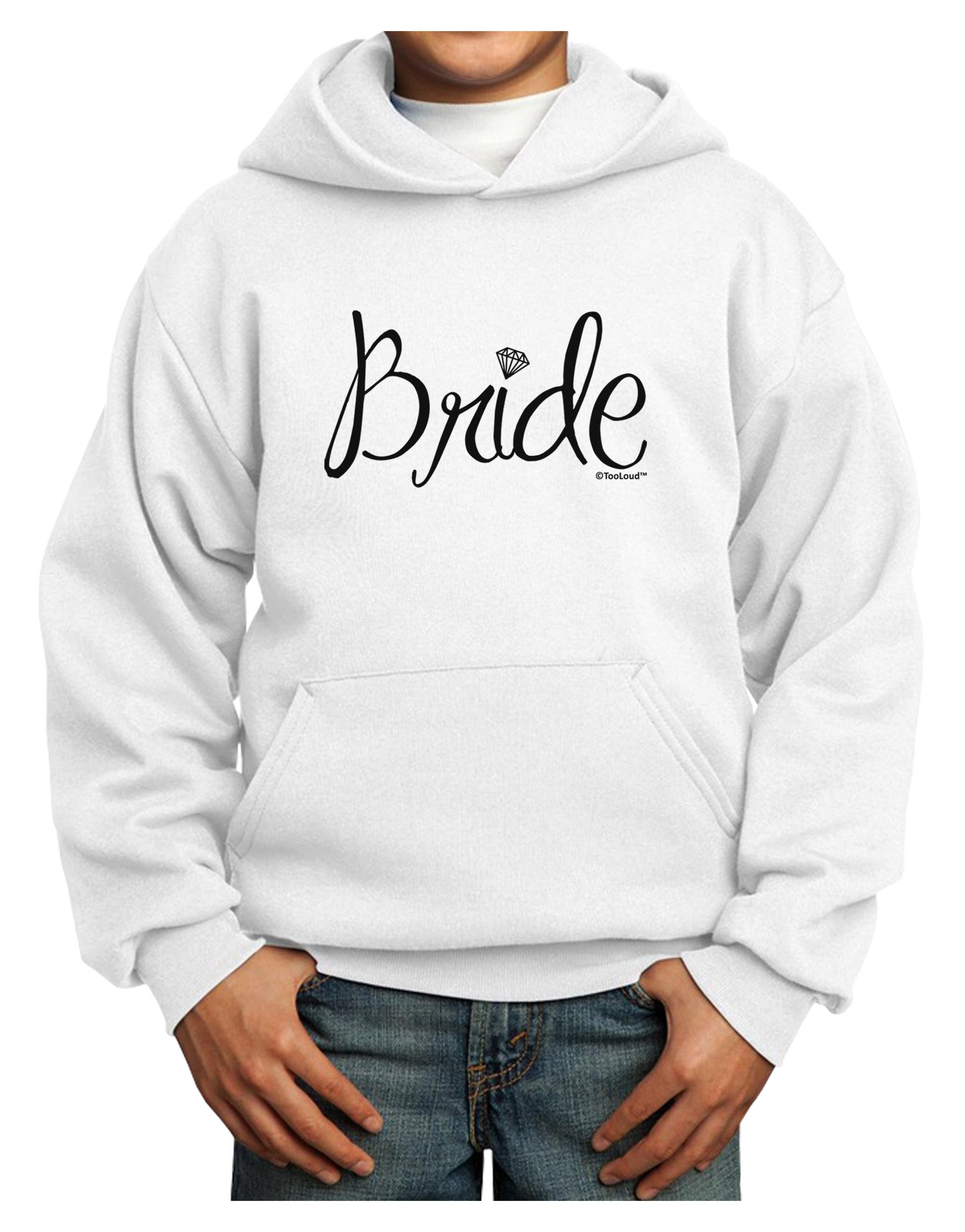TooLoud Bride Design - Diamond Youth Hoodie White Extra-Large