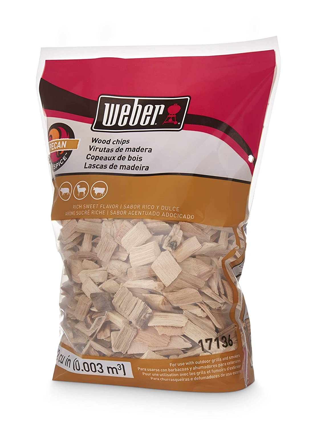Weber Cubic Meter Stephen Products 17136 Pecan Wood Chips, 192 cu. in. (0.003 cubi, 2 lb