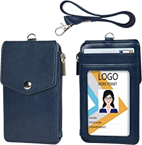Teskyer Leather Badge Holder with Zipper Pocket,1 Clear ID Window and 3 Card Slots with Secure Cover, Premium Leather ID Holder with Nylon Lanyard for Office School ID, Credit Cards, Driver Licence