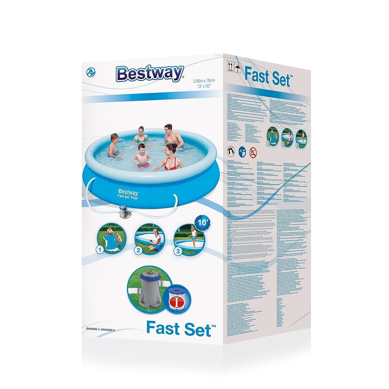 Bestway Fast Set - Piscina redonda con depuradora, 366 x 76 cm