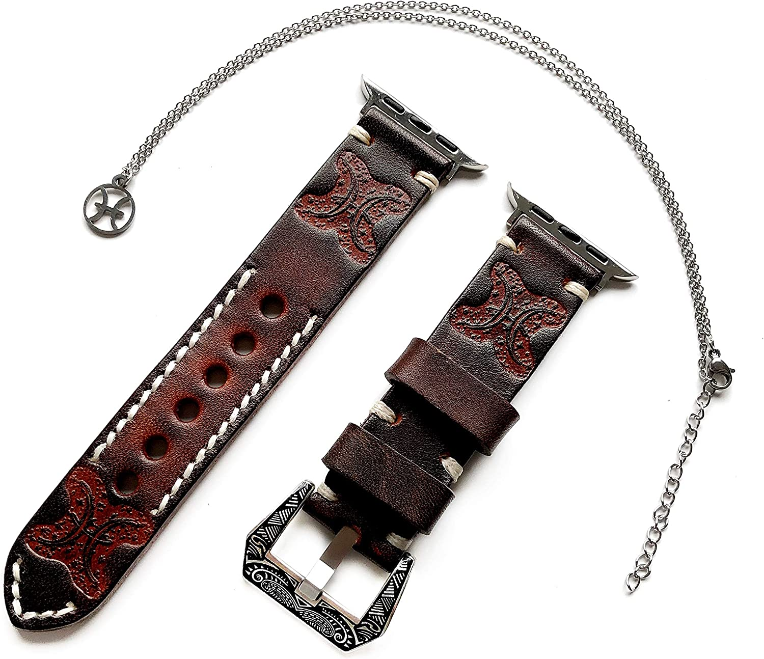 Pisces Zodiac Band Set Compatible with Apple Watch 38mm 40mm 42mm 44mm iWatch SE 6 5 4 3 2 1 All Series Leather Embossed Strap and 25