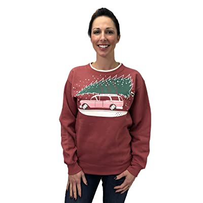 Green 3 Vintage Car Christmas Tree Surfer (Vintage Red/Natural) - Womens Fleece Sweatshirt, Made In The USA
