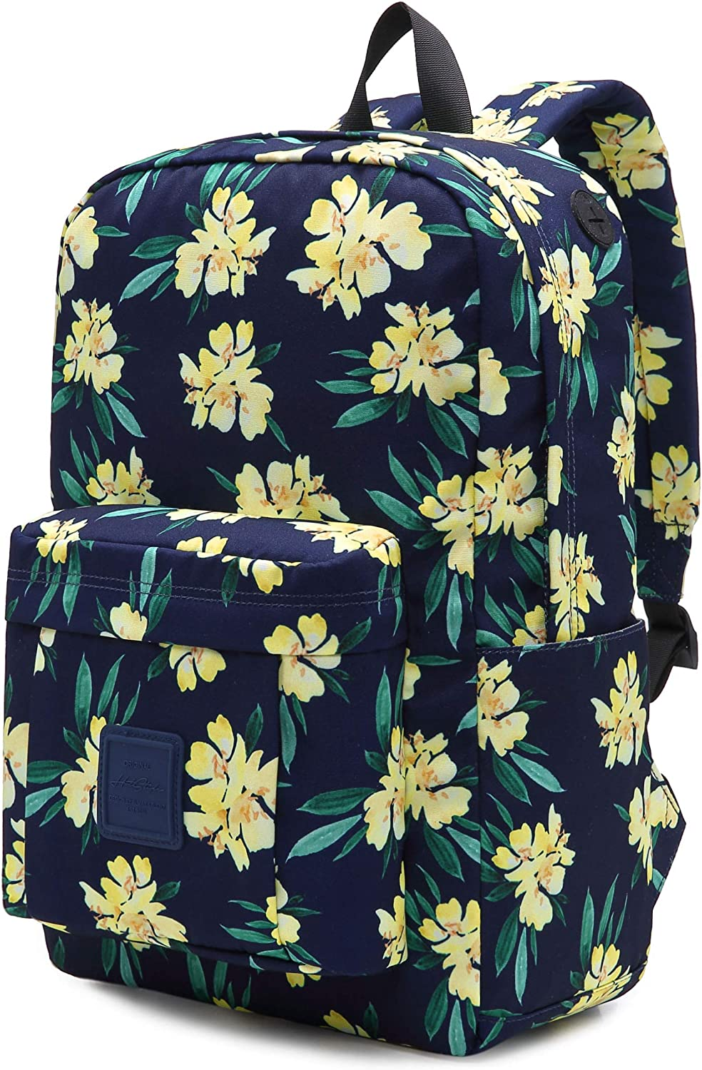 599s Floral School Backpack For Teen Girls, Water resistance & Durable Bookbag Cute for College, Winter Jasmine, Navy