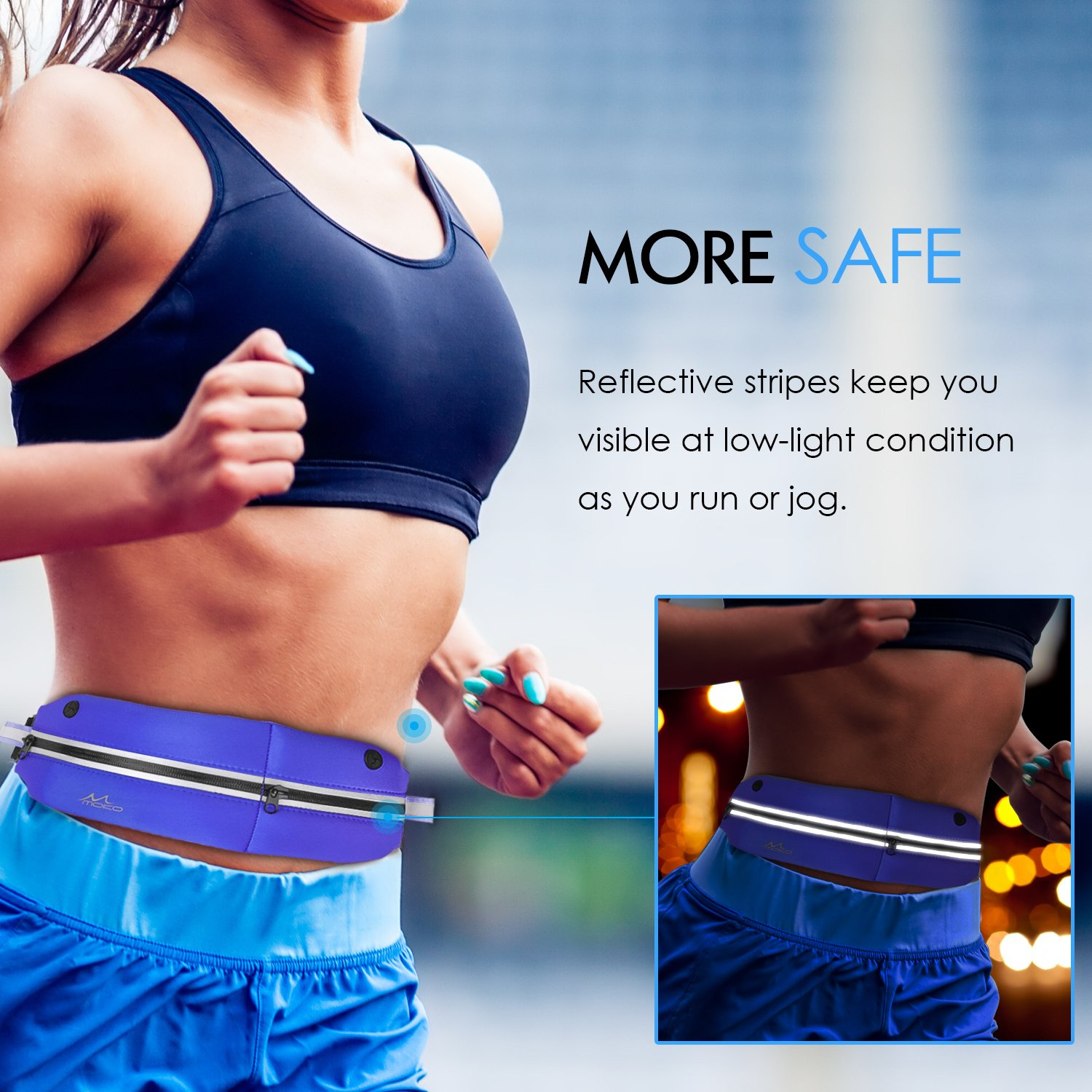 INDIGO Sports Running Waist Pack One Large /& One Small 6s 6s Plus Galaxy J3 MoKo Universal Outdoor Fanny Pack Running Belt with Dual Pouch Bag for iPhone 7 S7 Edge and Devices Under 6 INDIGO S7 Edge and Devices Under 6