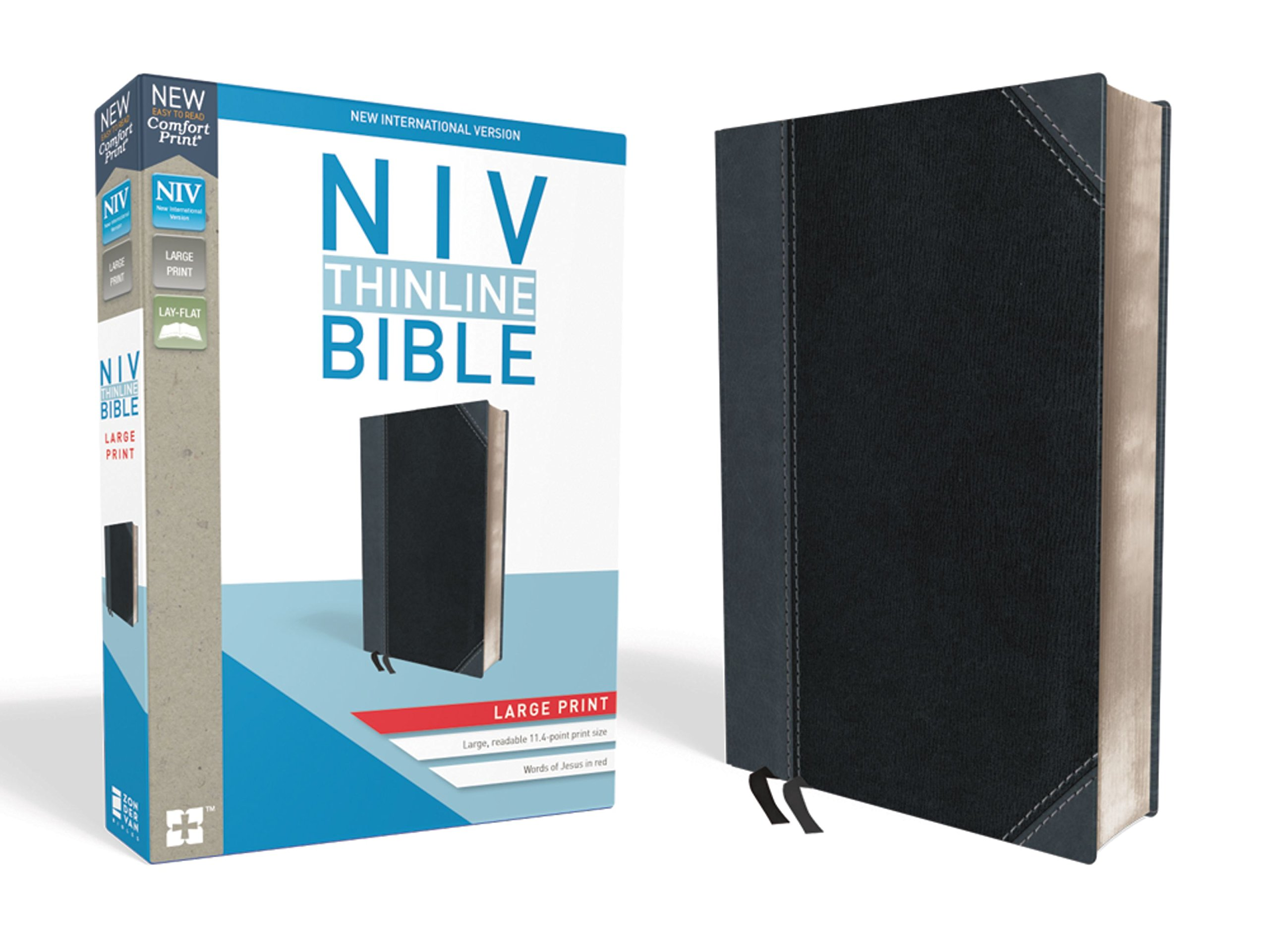 NIV, Thinline Bible, Large Print, Leathersoft, Black/Gray, Red Letter Edition, Comfort Print by HarperCollins Christian Pub.
