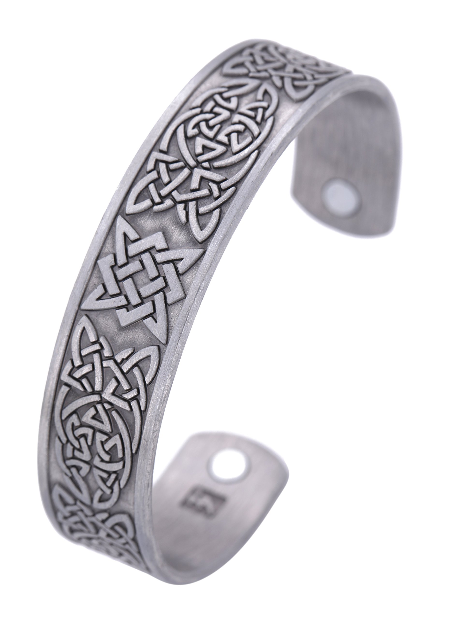 TEAMER Punk Tree of Life Yggdrasil Celtic Knot Raven Magnetic Therapy Cuff Bangle (Antique Silver)