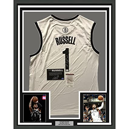 f679897d Framed Autographed/Signed D'Angelo Russell 33x42 Brooklyn White Basketball  Jersey JSA COA