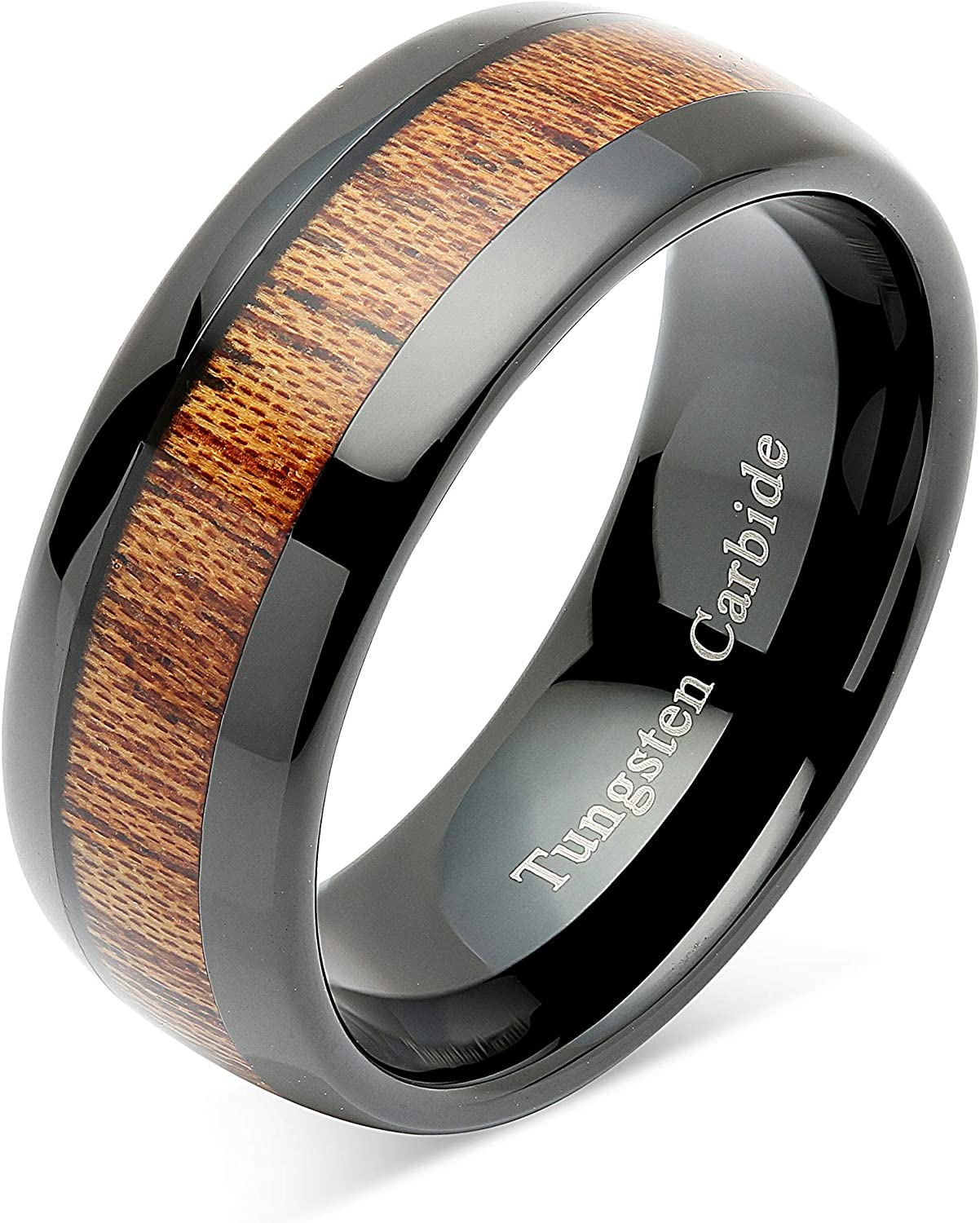 100S JEWELRY Tungsten Rings for Men Women Wood Inlay Black Plated Comfort Fit Size 6-16