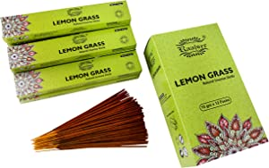 raajsee 15 GMS x 12 Pack Lemon Grass Incense Sticks,100% Pure Organic Natural Hand Rolled Free from Chemicals - Perfect for Aromatherapy, Cleansing,Meditation and Church (Lemongrass)
