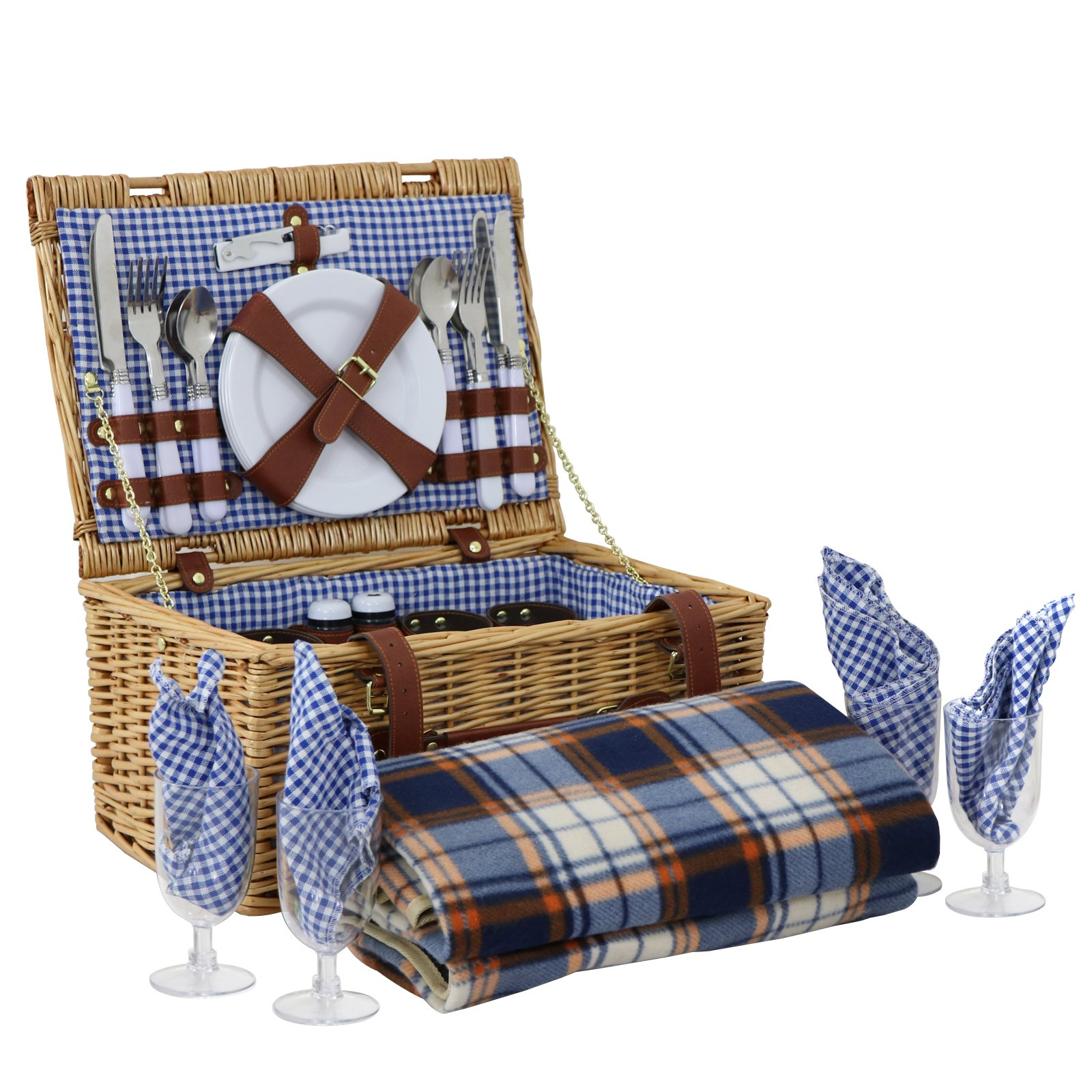 ZENY Wicker Picnic Basket 4 Person Wicker Hamper Set with Flatware, Plates and Wine Glasses Includes Tableware & Picnic Blanket (4 Person)