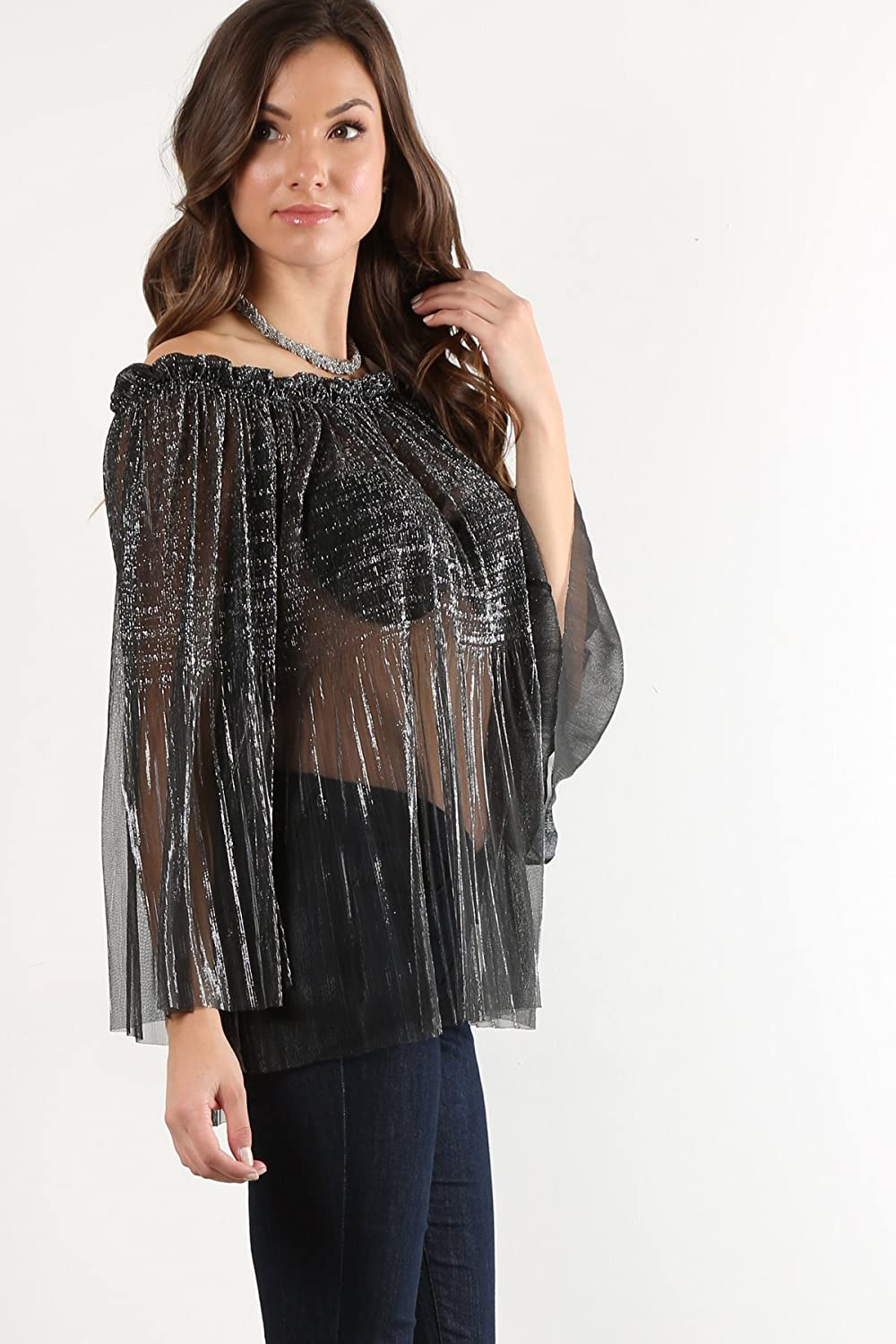 d492c6b5c92592 MeshMe Womens Jesse - Black Silver Sparkly Sparkle Shiny Metallic Classy  Fancy Pleated Strapless Off Shoulder Shimmer Elegant Tinsel Sheer See  Through Long ...