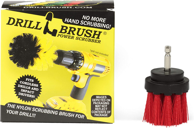 Drill Brush Power Scrubber - Small Round Stiff Brush - Outdoor Cleaning - Stiff Bristle Deck Brush - Scrub Brush - Concrete Bird Baths - Garden Statues - Spin Brush - Granite Headstone Brush