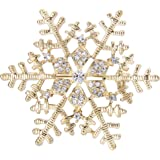 EleQueen Womenu0027s Winter Snowflake Clear Brooch Pin