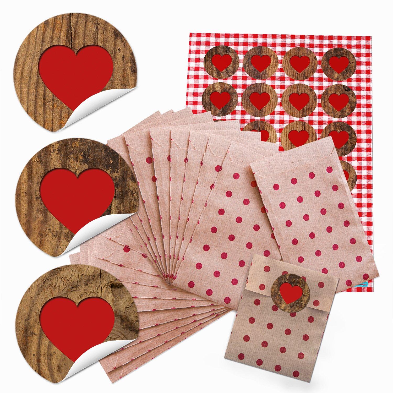 Lot de 48 petits sachets en papier marron avec 48 pochettes cadeau rouges à pois (9,5 x 14 cm) et 48 autocollants ronds Motif cœur rouge blanc