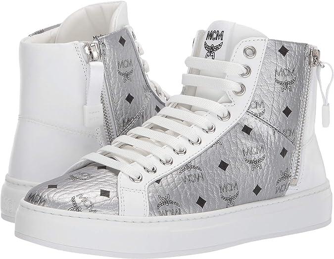 MCM Damen High Top Schnürung Visetos Sneaker, Silber (Berlin