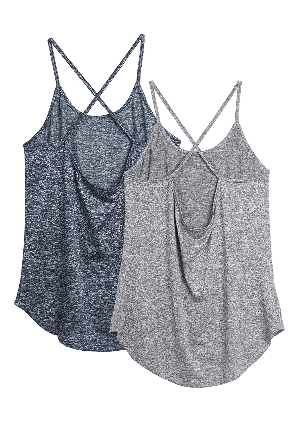 Athletic Shirts Running Sleeveless Tops Exercise Yoga Tank Pack of 2 icyzone Open Back Workout Tops for Women