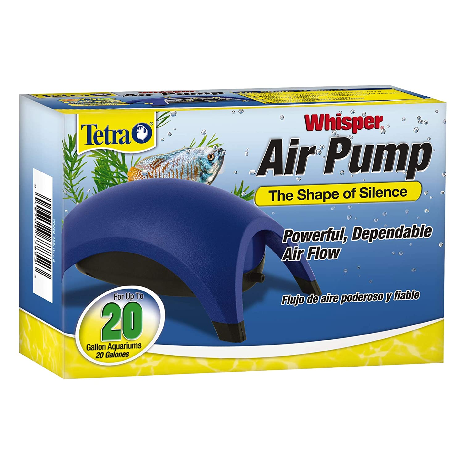 (10 to 75.7ls) Tetra Whisper Air Pump with Minimal Noise and Maximum Air Flow