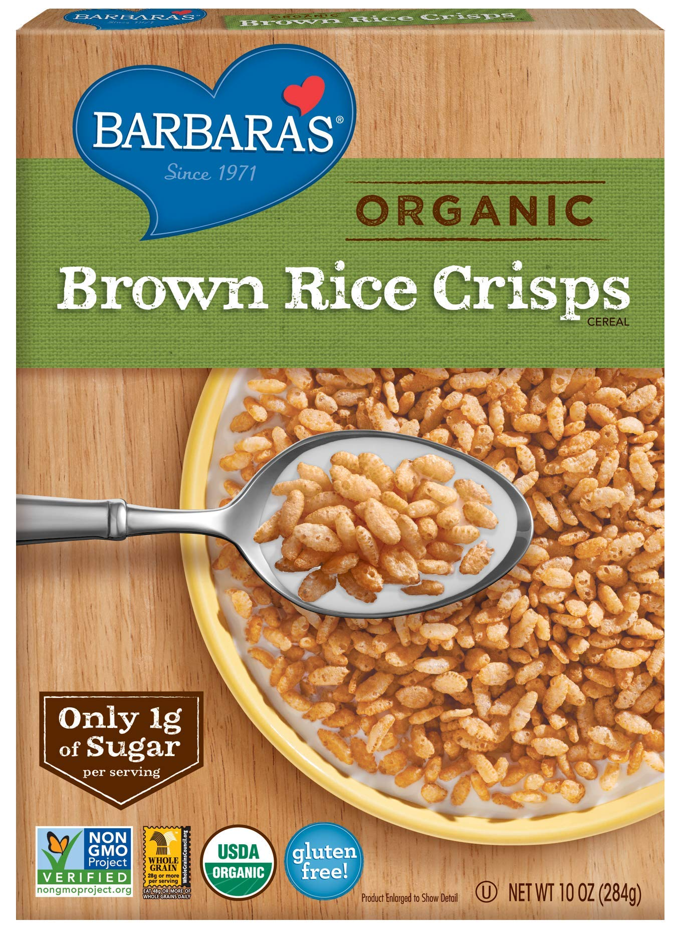 Barbara's Bakery Organic Brown Rice Crisps Cereal, 10 Ounce (Pack of 6) by Barbara's